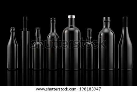 Alcohol bottles on black background. Template for graphic design. - stock photo
