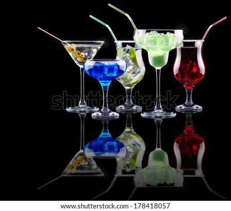 alcohol cocktail set. Berry cooler cocktail, martini, mojito,  Pina Colada - stock photo