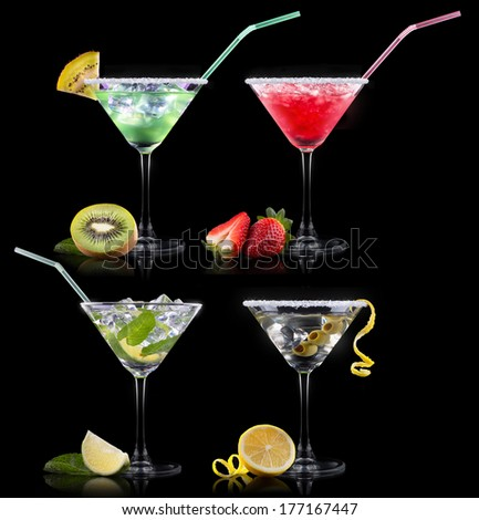 alcohol cocktail set on a black. Berry cooler cocktail, martini, mojito, Smoothie - stock photo