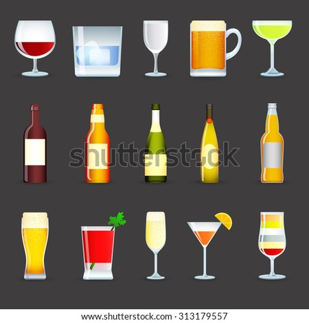 Alcohol drinks decorative icons set with cocktail beer wine vodka isolated  illustration - stock photo