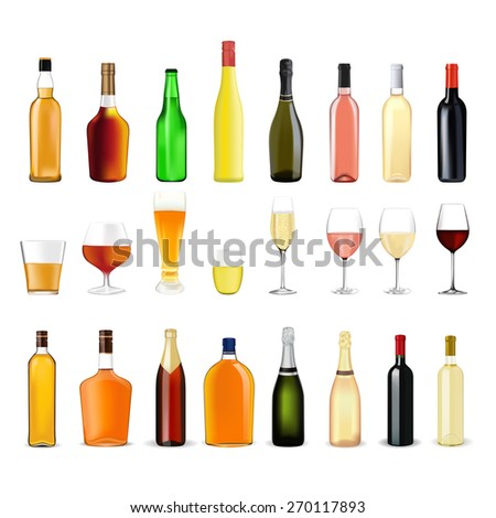 Alcohol drinks in bottles and glasses: whiskey, cognac, brandy, beer, liquor, champagne, wine. Isolated on white background. Raster version - stock photo