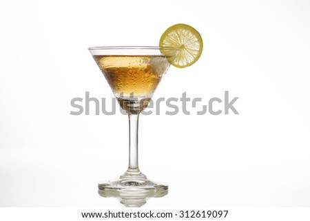 alcohol glass with ice isolate on white background. - stock photo