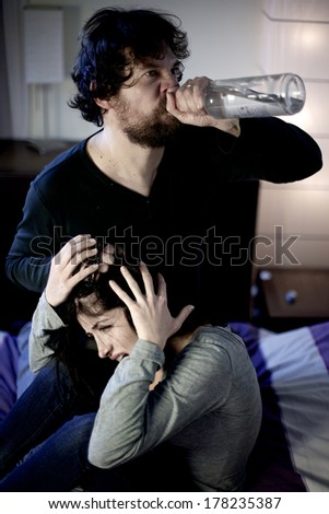 Alcohol problems in family sad woman shouting - stock photo