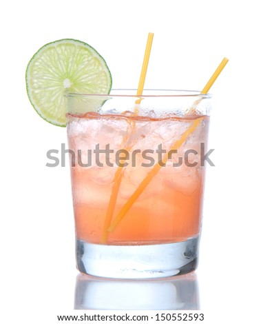 Alcohol strawberry margarita cocktail drink with lime isolated on a white background - stock photo