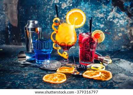 Alcoholic booze served cold at bar, drinks and refreshments with garnish - stock photo