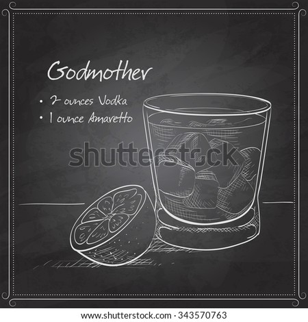 Alcoholic Cocktail Godmother with Vodka and liqueur Amaretto on black board - stock photo