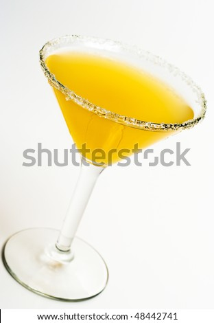 Alcoholic Cocktail Made of Tequila Mixed and Lemon Juice with Salt on Glass - stock photo