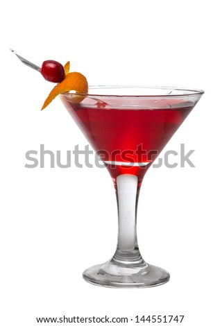 alcoholic cocktail red ornaments berries and zest - stock photo