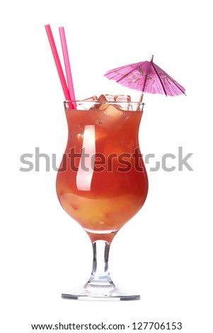 alcoholic cocktail  with umbrella and tube isolated on white background - stock photo