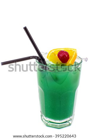 "alcoholic drink ""Blue Hawaii"": Rum, Coconut liqueur, Blue Curacao, Pineapple juice, Lemon juice.  - stock photo"