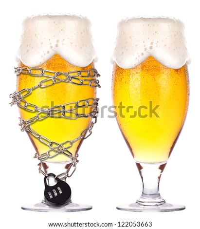 alcoholism concept - background with beer locked on a chain  isolated - stock photo