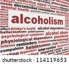 Alcoholism medical poster design. Alcohol addiction message background - stock photo