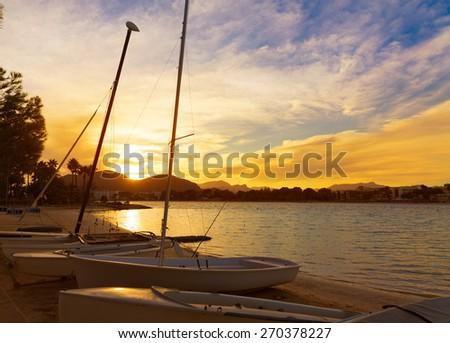 Alcudia Majorca at sunset on the beach Mallorca Balearic islands - stock photo