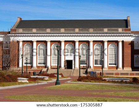 Alderman Library on the University of Virginia campus - stock photo