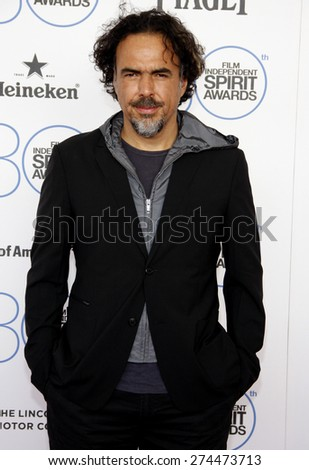 Alejandro Gonzalez Inarritu at the 2015 Film Independent Spirit Awards held at the Santa Monica Beach in Santa Monica on February 21, 2015.  - stock photo