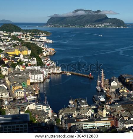 Alesund, Norway - town houses on sea front. Scandinavia. Travel - stock photo