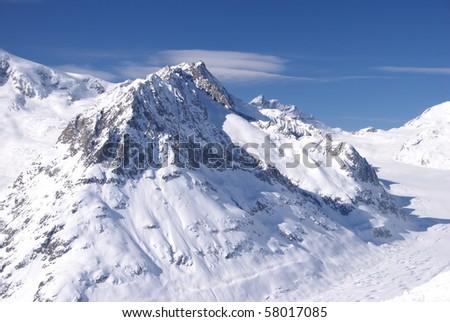 Aletsch Glacier in wintertime - stock photo