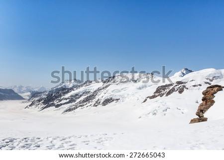 Aletsch Glacier landscape in the Jungfraujoch, Alps Mountain, Switzerland - stock photo