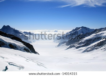 Aletsch glacier view from the Jungfrau - stock photo