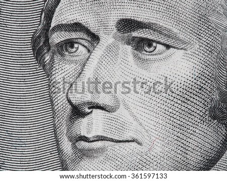 Alexander Hamilton face on ten dollar bill macro, 10 usd, united states money closeup - stock photo
