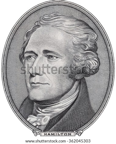 Alexander Hamilton face on us ten dollar bill isolated, 10 usd, united states money closeup - stock photo