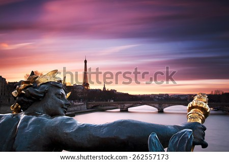 Alexander III bridge - stock photo