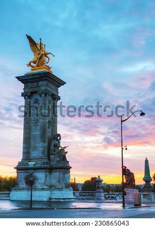 Alexander III bridge in Paris at sunrise - stock photo