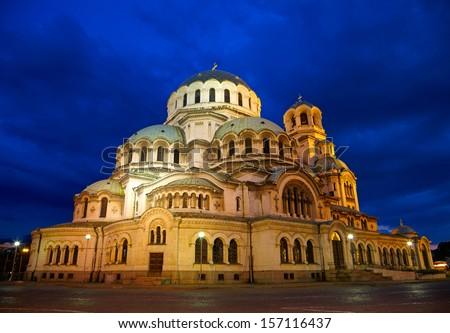 Alexander Nevski Cathedral in capital of Bulgaria - Sofia - stock photo