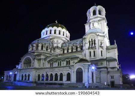 Alexander Nevski Cathedral in capital of Bulgaria Sofia - stock photo