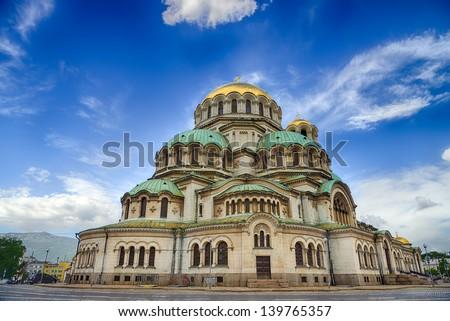 Alexander Nevski Cathedral in Sofia, Bulgaria.HDR image - stock photo