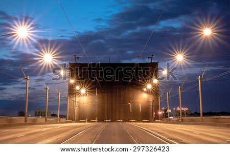 Alexander Nevsky bridge drawing at white nights in St. Petersburg, Russia - stock photo