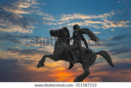 Alexander the great - thessaloniki - stock photo
