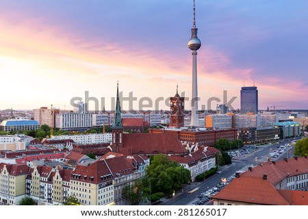 Alexanderplatz in the sunset, Berlin - stock photo