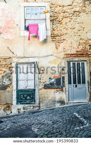 Alfama in Lisbon, Portugal - stock photo