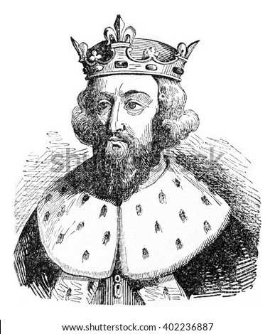 Alfred the Great, vintage engraved illustration. Colorful History of England, 1837. - stock photo