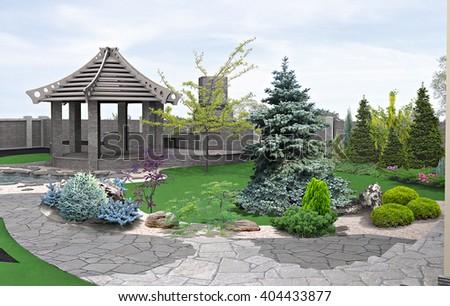 Alfresco living area, 3d render - stock photo