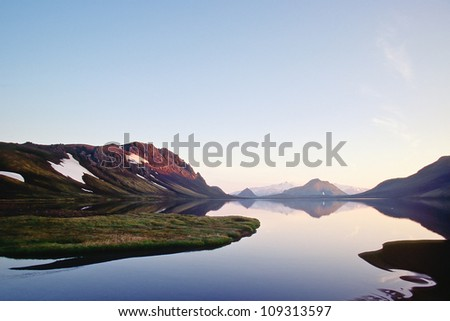 Alftavatn lake in late evening light, Iceland - stock photo