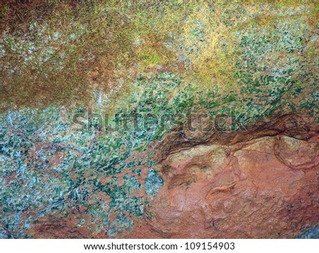 Algae paints an abstract composition on an ever-changing topography of stone, deep on a cave wall in Virginia. - stock photo