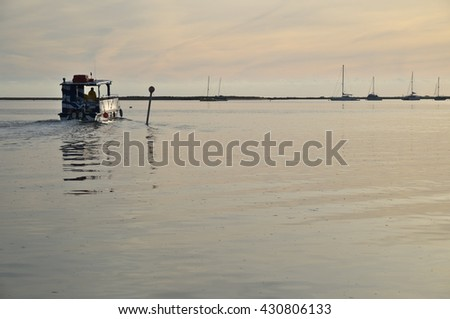 ALGARVE, PORTUGAL - January 27, 2016: Ria Formosa boat tours in Faro. Nature, Travel and Vacations - stock photo