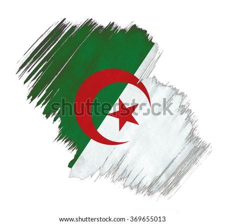Algeria flag grunge stain - stock photo