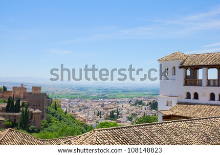 Alhambra and city of Granada, Andalusia, Spain - stock photo