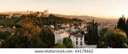 Alhambra and Granada landscape - stock photo