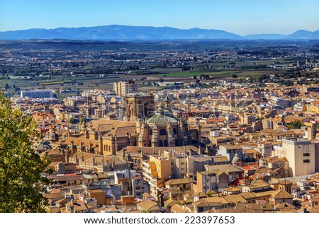 Alhambra Cityscape Church Cathedral Granada Andalusia Spain. - stock photo