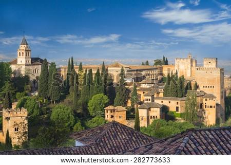 alhambra fort spain - stock photo
