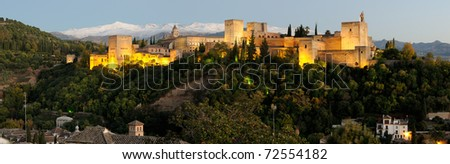Alhambra in the sunset - stock photo