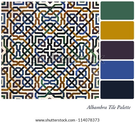 Alhambra Tile detail colour palette with complimentary swatches. - stock photo