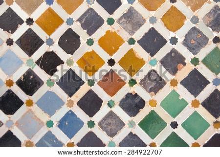 alhambra tile wall - stock photo