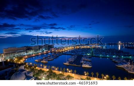 Alicante port at night - stock photo