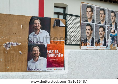 ALICANTE, SPAIN-DECEMBER 511, 2015: Political campaign posters depicting several presidential candidates on the kickoff to the 2015 elections. - stock photo