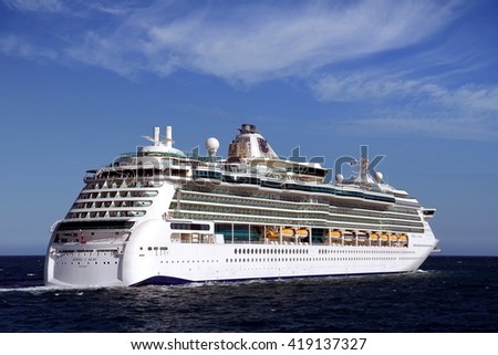 ALICANTE, SPAIN   MAY 11. Stern zone of the luxury cruise JEWEK OF THE SEAS when is leaving the port of Alicante on may 11, 2016 in Alicante. - stock photo
